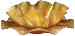 Tiffany Glass Finger Bowl Underplate Earl Gold Iridescent Red Highlights Stretched Ruffled