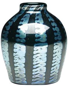 Tiffany Glass Vase Black Platinum Pulled Zipper Bulbous Rolled Rim Favrile