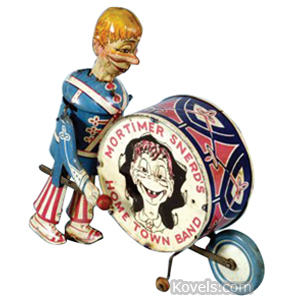 Charlie McCarthy Toy Mortimer Snerd Drummer Drum Tin Lithograph Windup Marx   Kovels' Price Guide