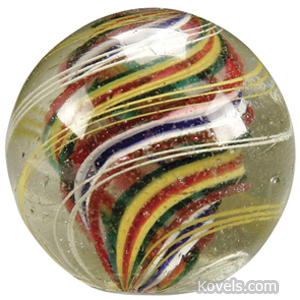 Marble Latticinio Core Swirl 4 Stage Red Blue Green Yellow
