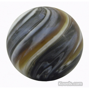 Marble Slag Amber Double Pontil
