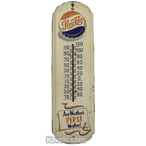 Pepsi-Cola Thermometer Wall Sheet Metal Red White Blue Logo