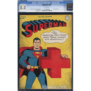Superman Comic Book No 34 May 6 1945 Jack Burnley Cover Art