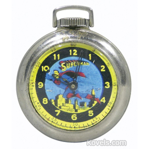 Superman Watch Pocket Superman On Dial Black Yellow Border Metal