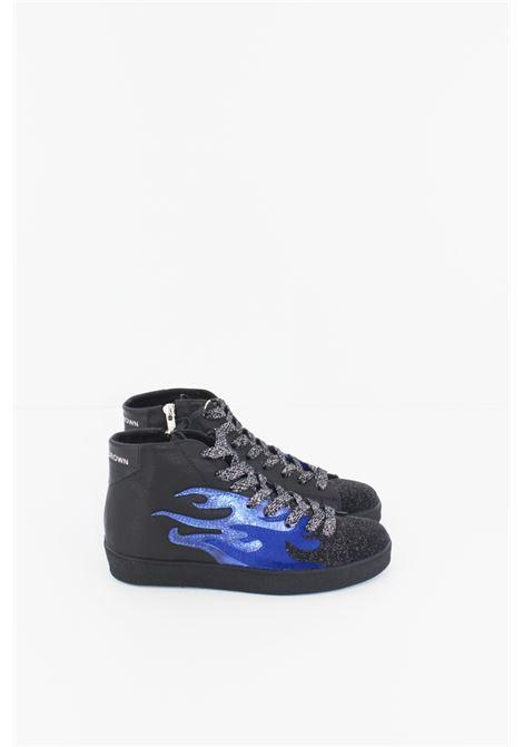 LEATHER CROWN | Sneakers | SNEAK076NERA-BLUETTE-ARGENTO