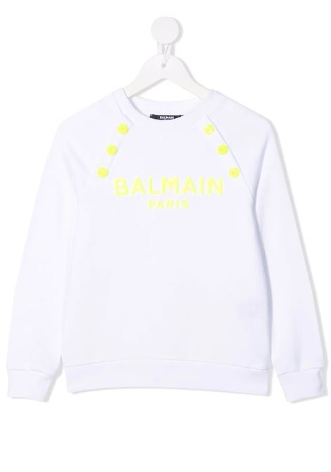 BALMAIN | sweatshirt | 6P4050BIANCO GIALLO FLUO