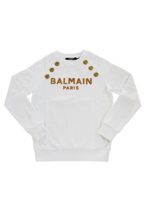 BALMAIN | sweatshirt | 6P4050BIANCO LOGO ORO