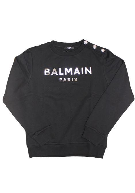 BALMAIN   sweatshirt   6P4110NERO LOGO ARGENTO
