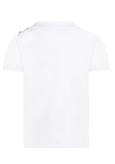 BALMAIN   T-shirt   6P8641BIANCO LOGO ARGENTO