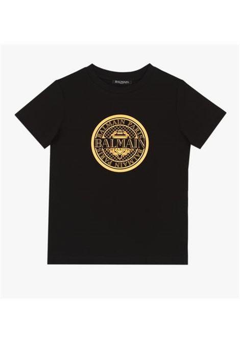 BALMAIN | T-shirt | BAL08NERO ARANCIO FLUO