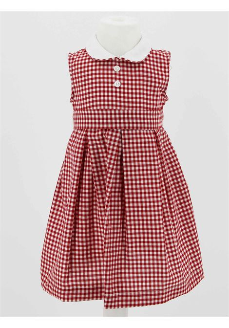 LITTLE BEAR | Dress | BEA06QUADRI B.CO ROSSO