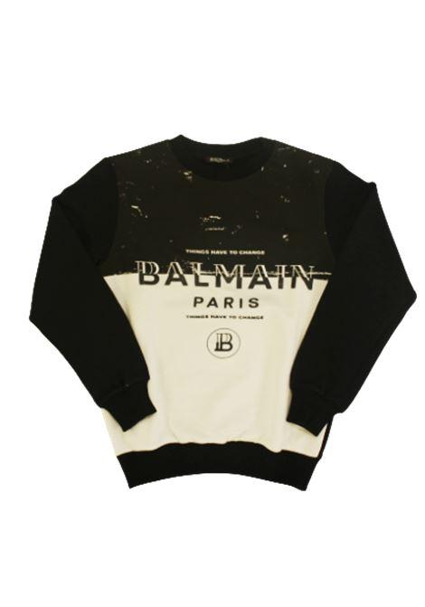 BALMAIN | sweatshirt | 6M4510BIANCO NERO
