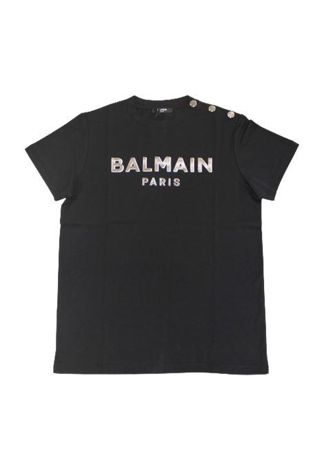 BALMAIN   T-shirt   6P8641NERO LOGO ARGENTO