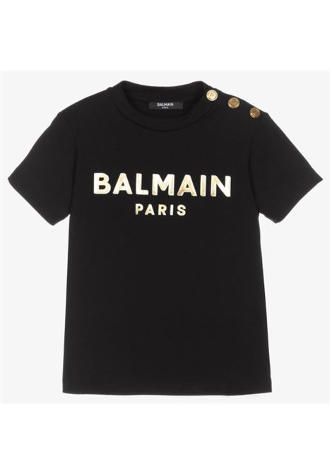 BALMAIN   T-shirt   6P8641NERO LOGO ORO