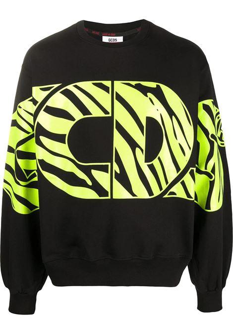 GCDS | sweatshirt | SS20M020064NERO GIALLO FLUO