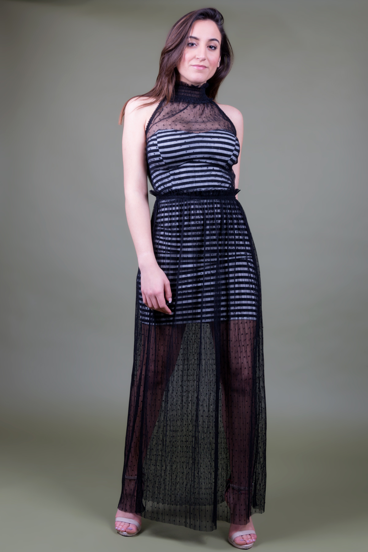 buy popular c481a 0f6ad Long tulle dress with black striped jersey sheath dress GUESS