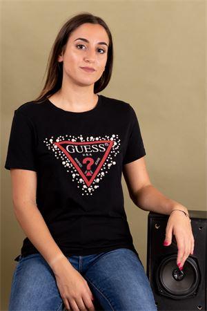 T-shirt logo con strass e perle GUESS Guess | 8 | W93I48K7DN0JBLK