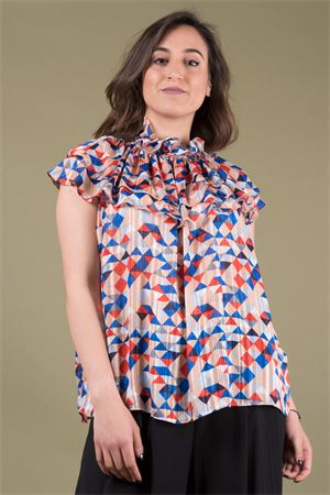 alt=' Patterned blouse with rouches neck and volant TRAFFIC PEOPLE Traffic People | 6 | FD11497PEACH RED' title=' Patterned blouse with rouches neck and volant TRAFFIC PEOPLE Traffic People | 6 | FD11497PEACH RED'