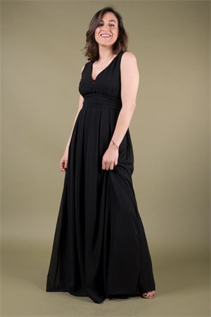 Georgette long dress neckline with buttons TRAFFIC PEOPLE Traffic People | 11 | NMG11442BLACK