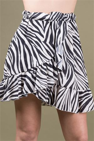 Animalier printed mini skirt with rouches VICOLO