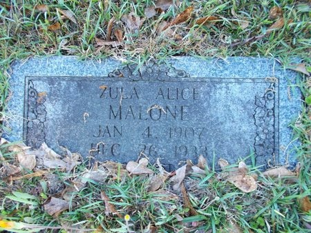 MALONE, ZULA ALICE - Bossier County, Louisiana   ZULA ALICE MALONE - Louisiana Gravestone Photos