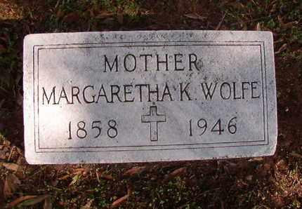 WOLFE, MARGARETHA K - Caddo County, Louisiana   MARGARETHA K WOLFE - Louisiana Gravestone Photos
