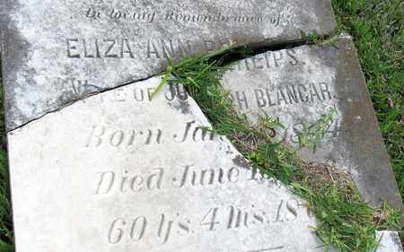 BLANCAR, ELIZA ANN (CLOSEUP) - Calcasieu County, Louisiana   ELIZA ANN (CLOSEUP) BLANCAR - Louisiana Gravestone Photos
