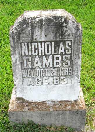 GAMBS, NICHOLAS - Calcasieu County, Louisiana   NICHOLAS GAMBS - Louisiana Gravestone Photos