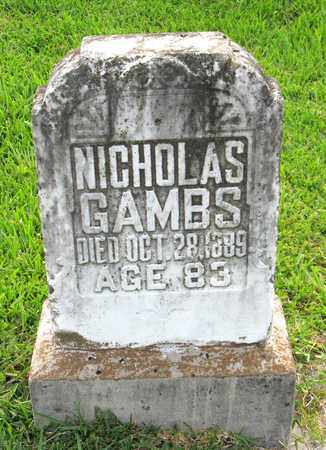 GAMBS, NICHOLAS - Calcasieu County, Louisiana | NICHOLAS GAMBS - Louisiana Gravestone Photos