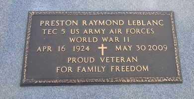 LEBLANC, PRESTON RAYMONC  (VETERAN WWII) - Calcasieu County, Louisiana   PRESTON RAYMONC  (VETERAN WWII) LEBLANC - Louisiana Gravestone Photos