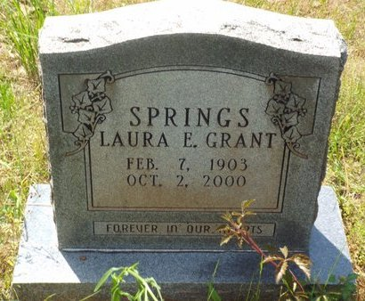 GRANT SPRINGS, LAURA E - Claiborne County, Louisiana | LAURA E GRANT SPRINGS - Louisiana Gravestone Photos