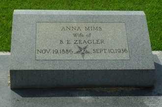 MIMS ZEAGLER, ANNA - La Salle County, Louisiana | ANNA MIMS ZEAGLER - Louisiana Gravestone Photos