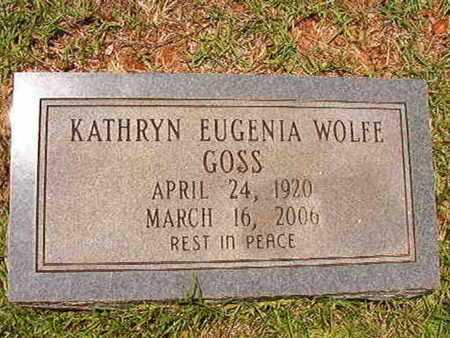 WOLFE GOSS, KATHRYN EUGENIA - Lincoln County, Louisiana | KATHRYN EUGENIA WOLFE GOSS - Louisiana Gravestone Photos