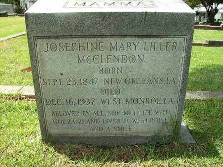 LILLER MCCLENDON, JOSEPHINE MARY - Lincoln County, Louisiana | JOSEPHINE MARY LILLER MCCLENDON - Louisiana Gravestone Photos