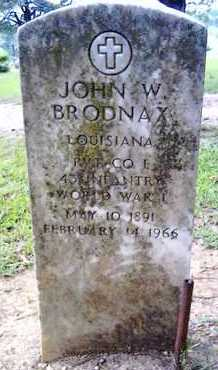 BRODNAX, JOHN W (VETERAN WWI) - Morehouse County, Louisiana   JOHN W (VETERAN WWI) BRODNAX - Louisiana Gravestone Photos