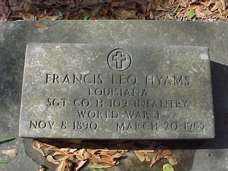 HYAMS, FRANCIS LEO  (VETERAN WWI) - Natchitoches County, Louisiana | FRANCIS LEO  (VETERAN WWI) HYAMS - Louisiana Gravestone Photos
