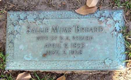 MIMS BREARD, SALLIE - Ouachita County, Louisiana | SALLIE MIMS BREARD - Louisiana Gravestone Photos