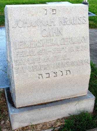 KRAUSS CAHN, JOHANNAH - Ouachita County, Louisiana | JOHANNAH KRAUSS CAHN - Louisiana Gravestone Photos