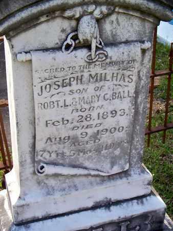 BALL, JOSEPH MILHAS (CLOSEUP) - Rapides County, Louisiana | JOSEPH MILHAS (CLOSEUP) BALL - Louisiana Gravestone Photos
