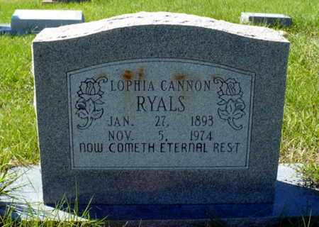 "CANNON RYALS, LOPHIA JANE ""LOPHIE"" - Red River County, Louisiana | LOPHIA JANE ""LOPHIE"" CANNON RYALS - Louisiana Gravestone Photos"