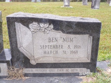 "WARD, BEN ""NUM"" (CLOSE UP) - Union County, Louisiana | BEN ""NUM"" (CLOSE UP) WARD - Louisiana Gravestone Photos"