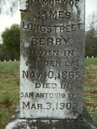 BERRY, JAMES LONGSTREET (CLOSE UP) - Webster County, Louisiana | JAMES LONGSTREET (CLOSE UP) BERRY - Louisiana Gravestone Photos