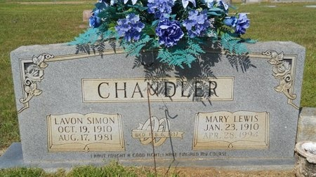 LEWIS CHANDLER, MARY - Webster County, Louisiana | MARY LEWIS CHANDLER - Louisiana Gravestone Photos