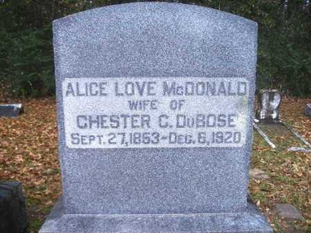 DUBOSE, ALICE - Webster County, Louisiana | ALICE DUBOSE - Louisiana Gravestone Photos