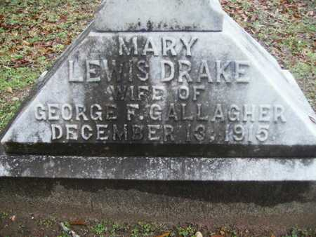 DRAKE GALLAGHER, MARY LEWIS (CLOSE UP) - Webster County, Louisiana | MARY LEWIS (CLOSE UP) DRAKE GALLAGHER - Louisiana Gravestone Photos