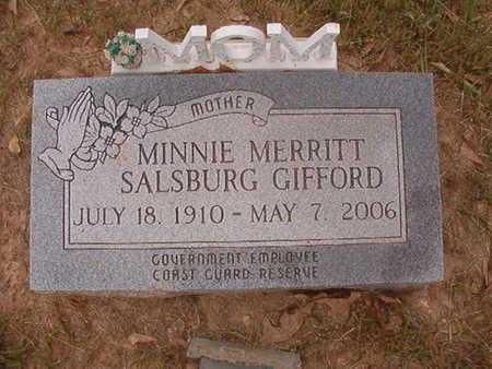 MERRITT SALSBURG GIFFORD, MINNIE - Webster County, Louisiana | MINNIE MERRITT SALSBURG GIFFORD - Louisiana Gravestone Photos