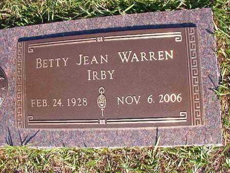 WARREN IRBY, BETTY JEAN - Webster County, Louisiana | BETTY JEAN WARREN IRBY - Louisiana Gravestone Photos