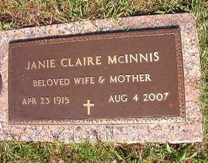 MCINNIS, JANIE CLAIRE - Webster County, Louisiana | JANIE CLAIRE MCINNIS - Louisiana Gravestone Photos