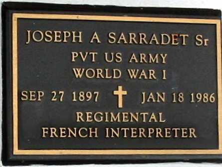 SARRADET, JOSEPH A, SR (VETERAN WWI) - West Baton Rouge County, Louisiana | JOSEPH A, SR (VETERAN WWI) SARRADET - Louisiana Gravestone Photos