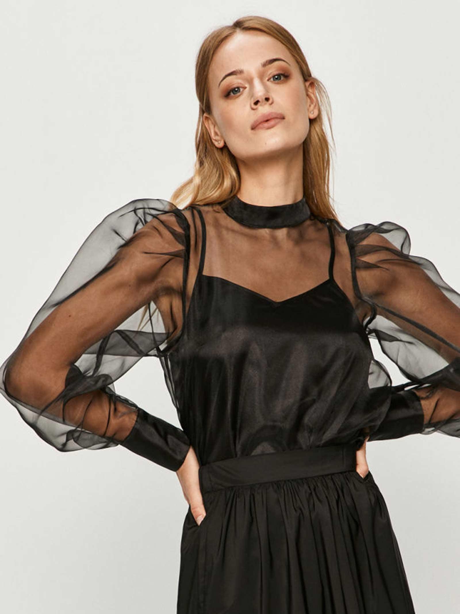 camicia in organza con top integrato GUESS | Camicia | W0YH59 WD2I0JBLK